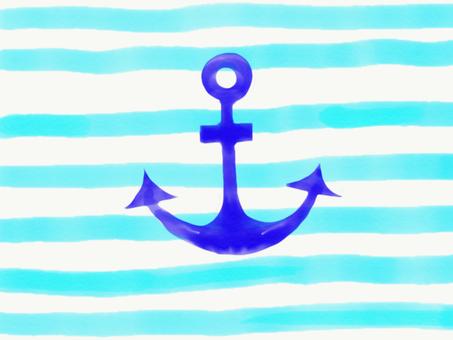 Blue border and ikari mark
