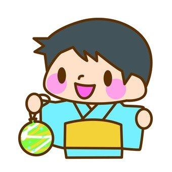 A boy in a yukata figure