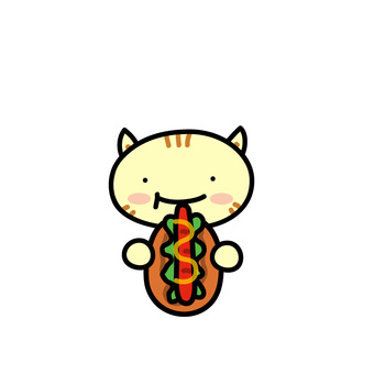 Animals eating hot dogs (cats)