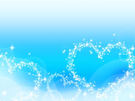 Glittering heart on blue background