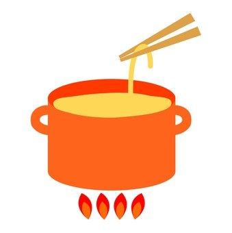 Boil the noodles