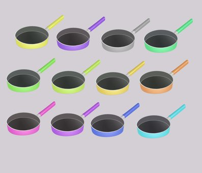 Various colors of frying pan