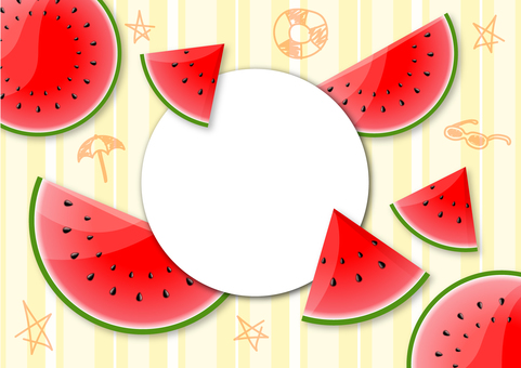 Watermelon summer illustration frame