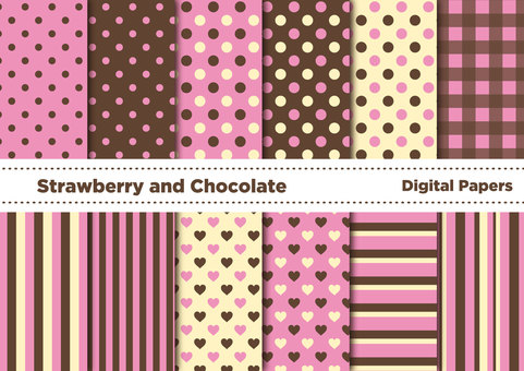 Chocolate and strawberry color wallpaper set