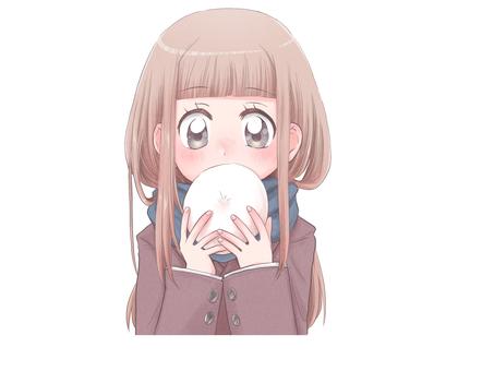 Girl eating meat bun 1