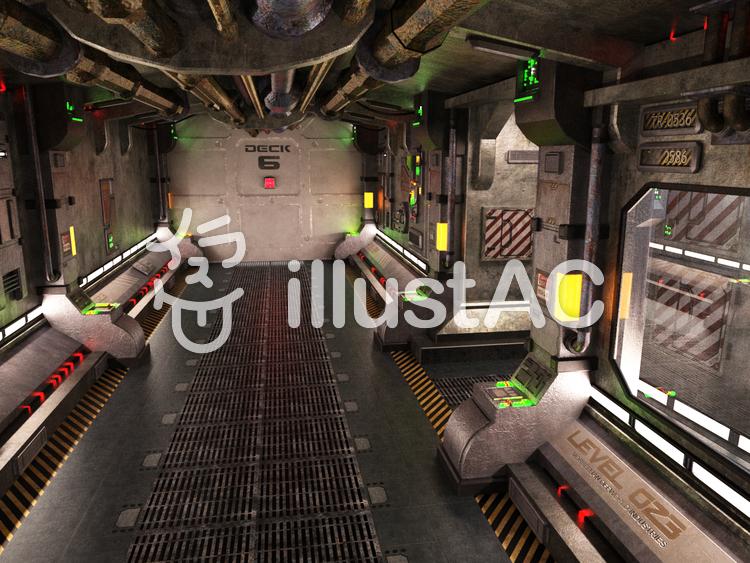 旧式宇宙船の船内通路のイラスト