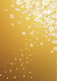 Sakura _ gold leaf _ longitudinal background