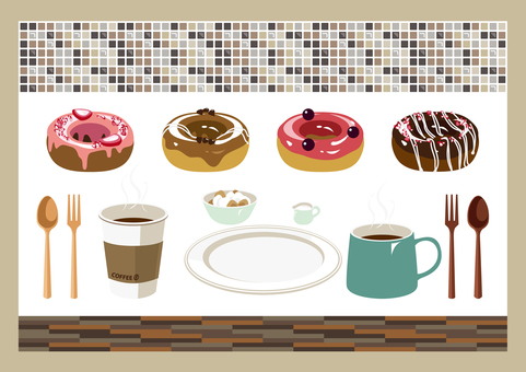 Donut and coffee cafe set