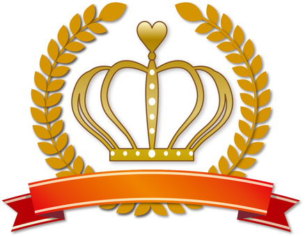 Laurel gold gold red ribbon crown