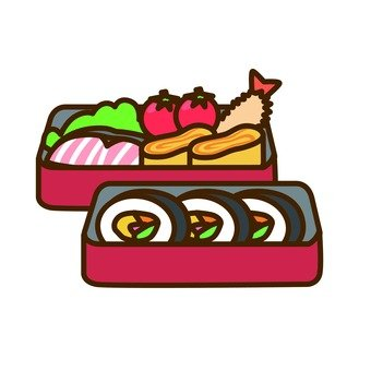 Lunch boxed sushi lunch box (red two lunch box)