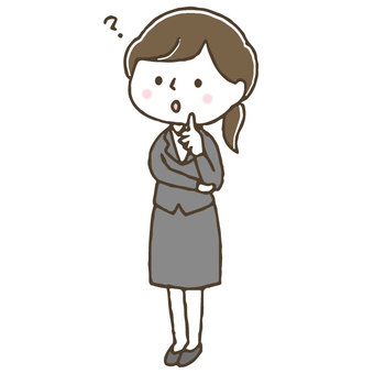 Concerned cute female office worker / hand drawn