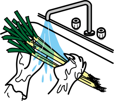 To wash green onion