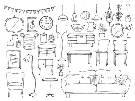 Hand drawn interior set