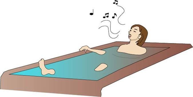 A woman singing while taking a bath
