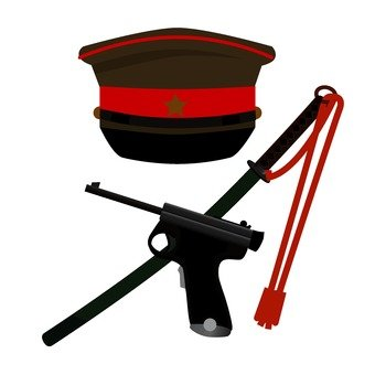 Hat and weapon