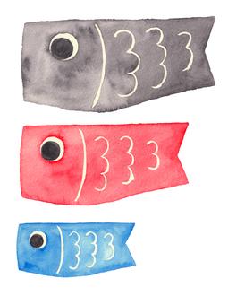 Carp streamer (watercolor illustration)