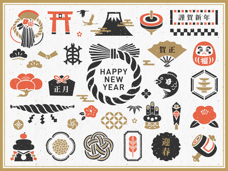 Japanese New Year stamp icon set