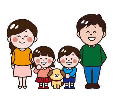 4 people Family, parent and child and dog