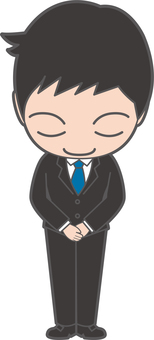 A male illustration that lowers his head with a smile