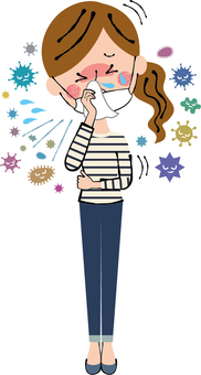風邪インフル顎マスクして咳き込む女性全身