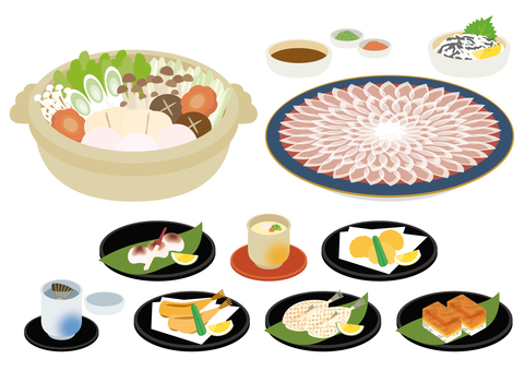 Fugu cuisine various sets
