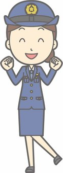 Police officer woman a - exciting - whole body
