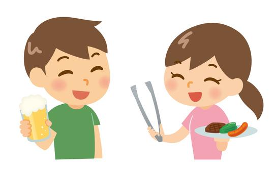 Men and women enjoying barbecue