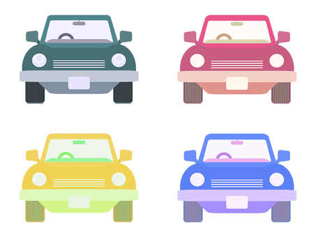 Four cars Front colorful