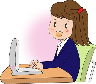 Girls playing PCs