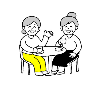 カフェで会話する婦人2人(シンプル)