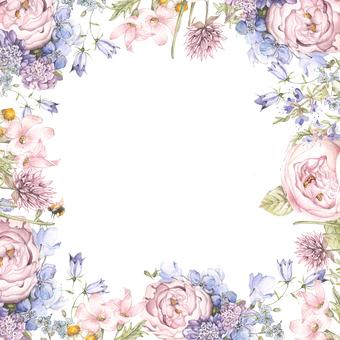 장미와 참 제비 고깔 꽃 프레임