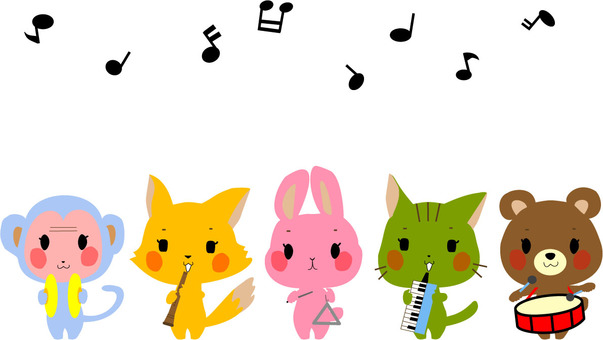 Music party with 5 animals