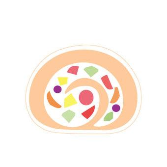 Fruit roll cake 4 (fresh cream)
