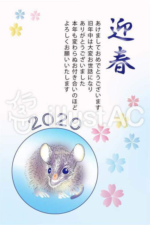 子年(ねずみどし)年賀状(紺)イラスト , No 1650802/無料