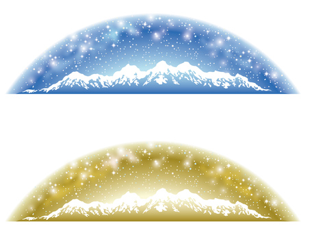 Starry Sky and Snowy Mount Background Blue & Gold