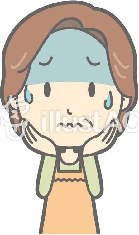中年主婦a-緊張-バストのイラスト