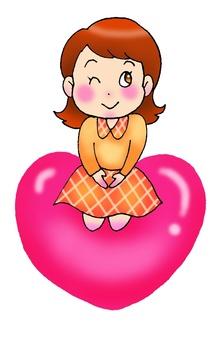 Girl sitting in heart