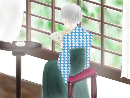 少女讀一本書