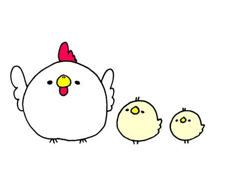 Chickens and chick 1 of 2