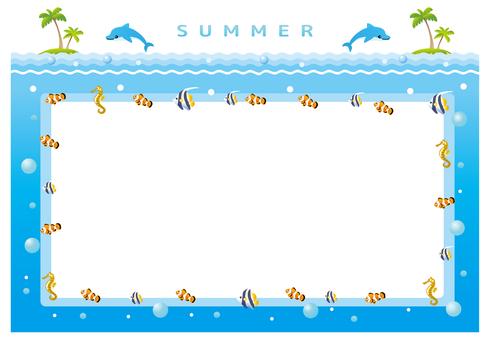 Summer sea announcement frame