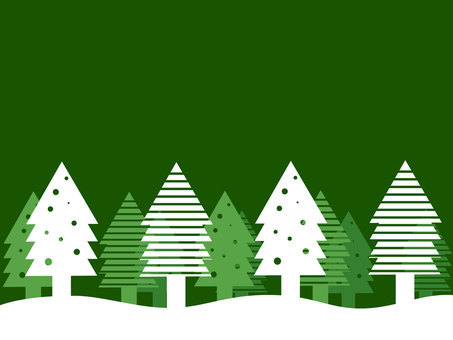 Christmas forest wallpaper material green