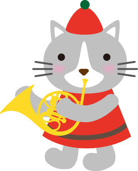 Cat that blows a horn