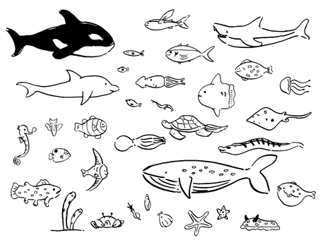 Sea creatures 01 (monochrome)