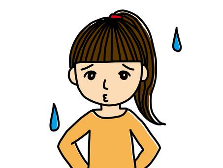 落ち込む女の子の手描きイラスト