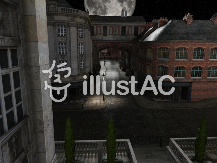 古いロンドンの街並みの風景(幻想の月夜)のイラスト