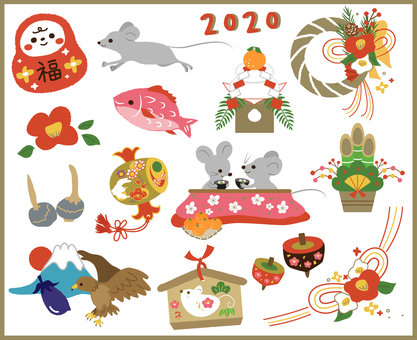 New Year's card New Year's material set (mouse)
