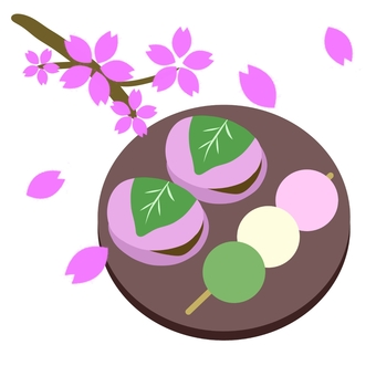 Japanese sweets and cherry blossoms on dishes
