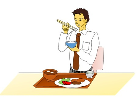Company employee during a meal