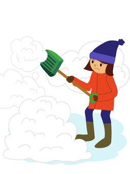 Illustration of heavy snow skiing