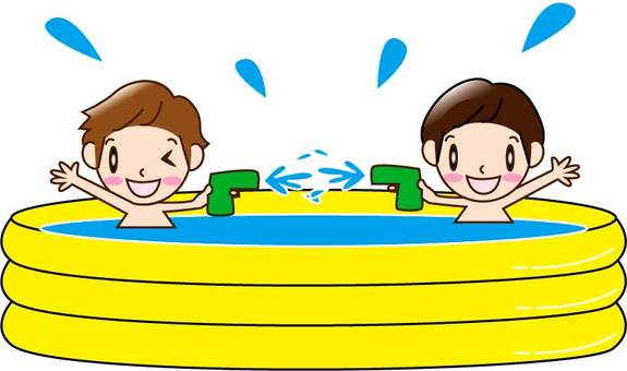 Two boys playing in a vinyl pool